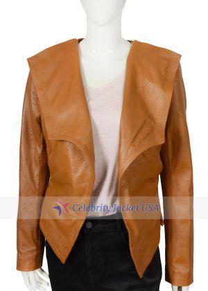 Caroline Channing 2 Broke Girls Brown Leather Jacket