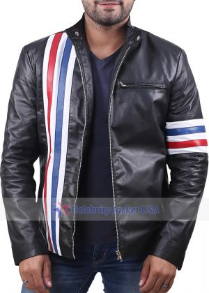 Easy Rider Captain America Flag Motorcycle Leather Jacket