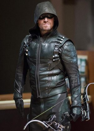 Stephen Amell Oliver Queen Green Arrow Season 5 Leather Jacket