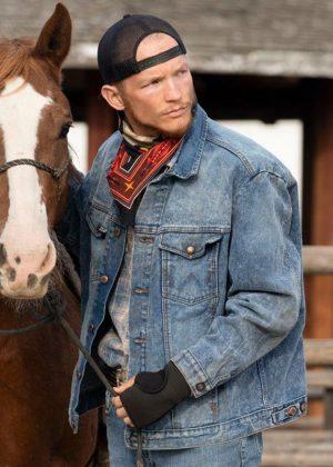 Jefferson White Yellowstone Jimmy Hurdstrom Blue Denim Jacket